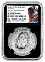 2019 P Apollo 11 50th Silver Dollar NGC PF70 FR Blk Astronaut SKU57202