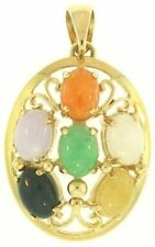 Natural Multi-Color Jadeite Jade Ovals 14K Yellow Gold 4-Prong Setting Pendant