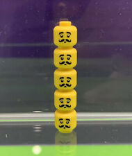 LEGO - 5 Minifigure Male Heads With Moustache & Black Curled Bushy Eyebrows
