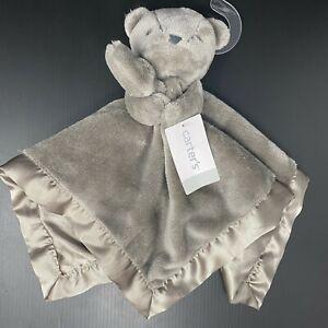 Carters Dark Gray Teddy Bear Baby Lovey Security Blanket Satin Back Plush NWT