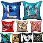 Reversible Sequin Mermaid Glitter Sofa Cushion Cover Pillow Case Double Color DY