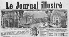 """ ABBEVILLE FRONTISPICE DU JOURNAL "" GRAVURE ENGRAVING 1866"