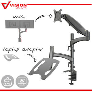 """Dual Monitor Stand Arm Mount + Tray Adapter for Laptop Desk Holder up to 8kg 32"""""""
