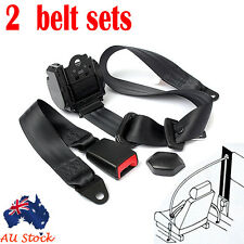 2 x Black Universal 3 Point Retractable AUTO Car Seat Lap Adjustable Belt Set