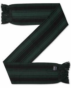 WEZC Men's Scarf Black Green One Size Toro 2-Tone Striped Fringe-Trim $42 030