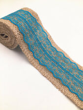 2M Lace Burlap Ribbon Natural Jute Hessian Wedding Party width 6cm  blue 2018