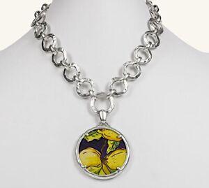 NWT $69 Patricia Nash Jocelyne Leather Pendant Necklace Positano Limon