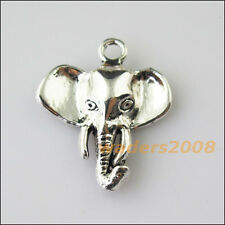 8 New Animal Elephant Head Tibetan Silver Tone Charms Pendants 22x25mm