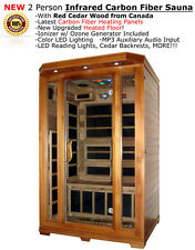 New Two 2 Person FIR Far Infrared Cedar Sauna Canadian Redwood Cedar + MP3 Input
