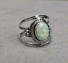 Ethiopian Opal Ring, Solid 925 Sterling Silver Band Ring, Opal Band Ring, N114