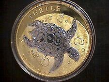 2016 Niue Taku Turtle 24K Gold Gild Silver 1 Troy Oz Two Tone Coin .999 Fine