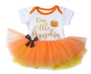 Ganz H8 Halloween Baby Girl 0-6mo Diaper Shirt Tutu One Piece Our Little Pumpkin