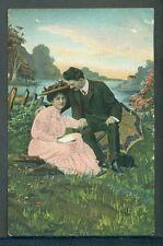 Romantic Couple Pretty Lady Gentleman Unused Vintage Postcard