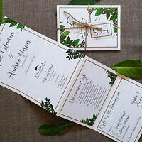 Personalised Wedding Invitations Day or Evening - Concertina - Botanical Garden