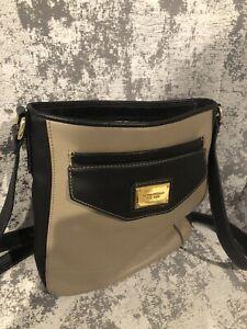 Tignanello leather Crossbody Bag. Excellent condition. Latte/black Cowhide.