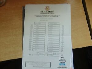 Teamsheet  Scottish League 1992/3 St Mirren v Stirling Albion Aug 29