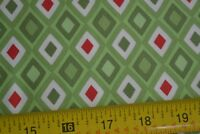 By 1/2 Yd, Red & White on Green Quilting Cotton, Moda/Spain/Flurry/27088, B1063