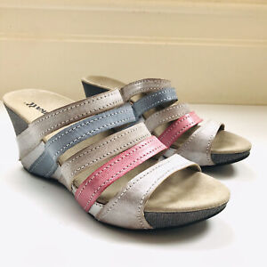 Romika Leather Strap Colourful Detail Comfort Wedge Size 39