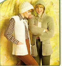 Womens Jacket Waistcoat and Hat Knitting Pattern 99p