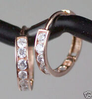TINY 10mm Small Solid 14K Pink Rose Gold CZ Huggies Hoop Earrings SPARKLY GORGES
