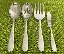 NEW 4PC Hampton Forge Tomodachi Marguerite Hammered Serving Set Stainless