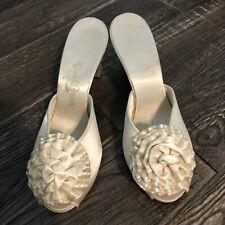 Daniel Green Cream Rosette Toe Open Back Bridal Boudoir Slippers C1950's B8.5