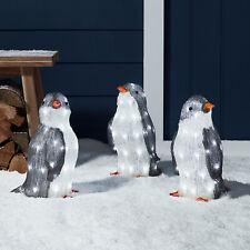 Set of 3 Acrylic LED Penguins Outdoor Christmas Decoration Plug IP44 Lights4fun