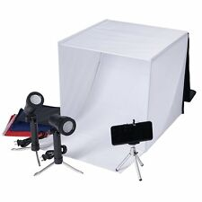 "Tabletop Light Box - 16"" Portable Photo Studio Kit with Lights, Backdrop & Stand"