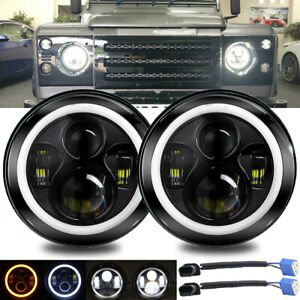 """7"""" LED Headlight Projector Halo Ring Drl for Land Rover Defender 90 Range Rover"""