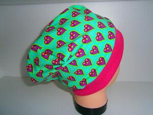 ♥Neu-Handmade♥Herzche♥Beanie♥Mütze♥Kindermütze♥KU 38-58♥Jersey♥Mädchen♥grün♥pink