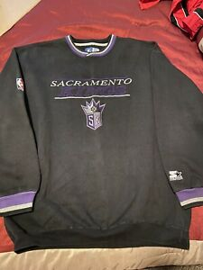 Sacramento Kings Starter Vintage Crew Neck Sweatshirt XL NBA Black Purple Silver