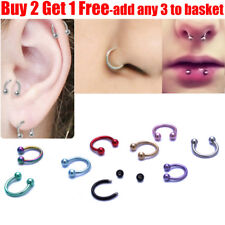 316L Surgical Steel Horseshoe Nose Ring Lip Ring Eyebrow Ear Hoop Ring Piercing