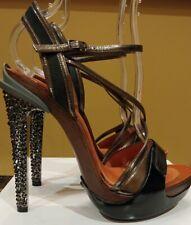 LANVIN Opanca Leather Wooden Platform Crystal Studded Heels NEW $2,790 Size 38