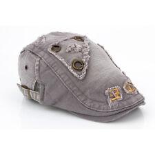 Mens Women Distressed Cotton Flat Caps Studded Rivets Newsboy Cabbie Ivy Hats