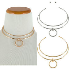 Bling Wide Full Double line Layered Metal Neck Ring Circle Choker Cuff Necklace