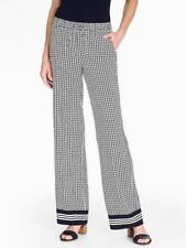 TALBOTS Navy White Diagonal Dash Print Wide-Leg Pants 24W NWT (MSRP $129)