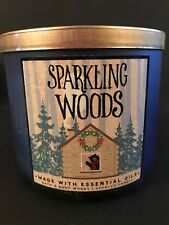 Bath & Body Works SPARKLING WOODS 3 Wick Candle 14.5oz