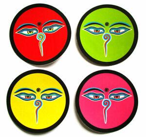 4 AUFKLEBER Buddha's eyes d=7 cm Buddha Augen Sticker Kathmandu Bodnath Nepal