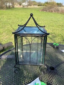 Vintage mid century modern retro Wrought Iron & Glass Footed box Terrarium black