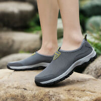 Mens Breathable Mesh Sneakers Slip On Water Shoes Casual Walking Outdoor Flats