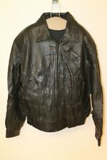 MENS JACK EDWARDS VINTAGE BLACK LEATHER FLIGHT/PILOT JACKET SZ M