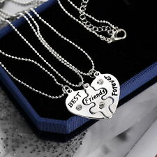 BFF Best Friend Forever 3 Part Love Break Heart Pendent Friendship Necklace Gift