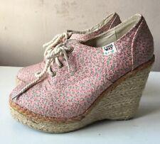 COOLWAY ladies pink floral high wedge heel ankle booties EU size 37