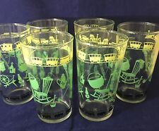 Vintage Hazel Atlas Glass 8oz Tumbler Set Of 6 Green Yellow Black Antique Design