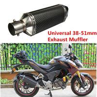 Aluminum 38-51mm Black Carbon Fiber Exhaust Muffler Pipe Street Bike Motorcycle