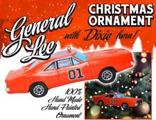 General Lee Dodge Charger Dukes Of Hazzard Car X'mas Ornament Flag & Dixie HORN