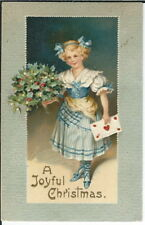 BA-150 A Joyful Christmas, Girl in Blue Dress Bouquet Holly, 1907-1915 Postcard