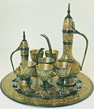 Vintage Middle Eastern Decanter Coffee Tea Set Gold Etched Black Metal 9 Piece