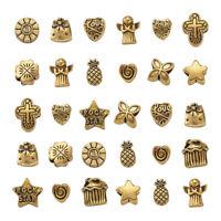 35~40pcs Mixed Antique Golden Tibetan Alloy Large Hole European Beads 10~11mm