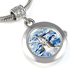 Dolphin Silver Dangle Charm Bead Quartz Watch Fit European Style Bracelet EBA151